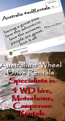 Australia 4 Wheel Drive Rentals for 4wd car hire, 4 wheel drive camper hire, 4x4 wagon rentals, 4wd car and tents for hire from Alice Springs and Darwin in Northern Territory Australia.